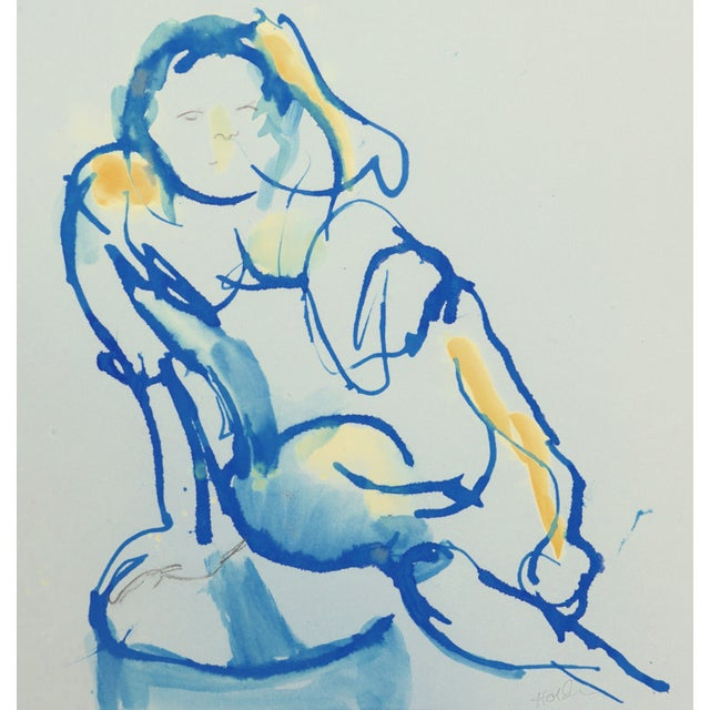 French Blue Nude II Original Drawing For Sale - Image 3 of 3