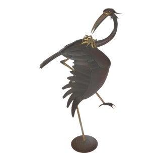 4' Tall T. Daniel Mid-Century Modern Mixed Metal Crane Sculpture For Sale