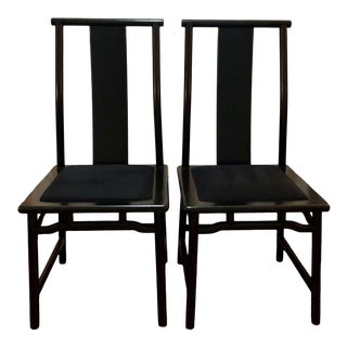 1980s Vintage Chinese Asian Black Lacquer Dining Side Chairs- A Pair For Sale