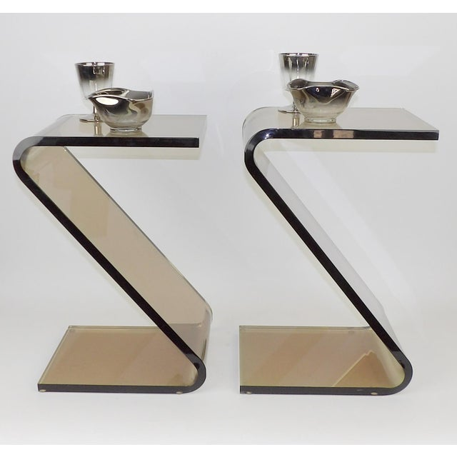 """Shlomi Haziza Acrylic Bent Lexan Lucite """"Z"""" End Tables / Nightstands - a Pair For Sale - Image 10 of 12"""