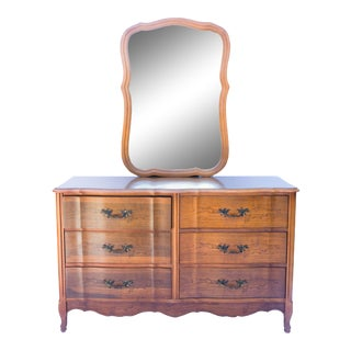 Bassett Furniture French Provencial Dresser With Mirror For Sale