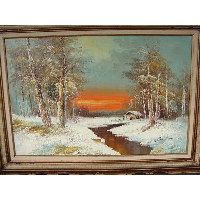Mid Century Oil on Canvas Painting Winter Sunset This is a large sofa sized oil on canvas painting of a winter scene at...