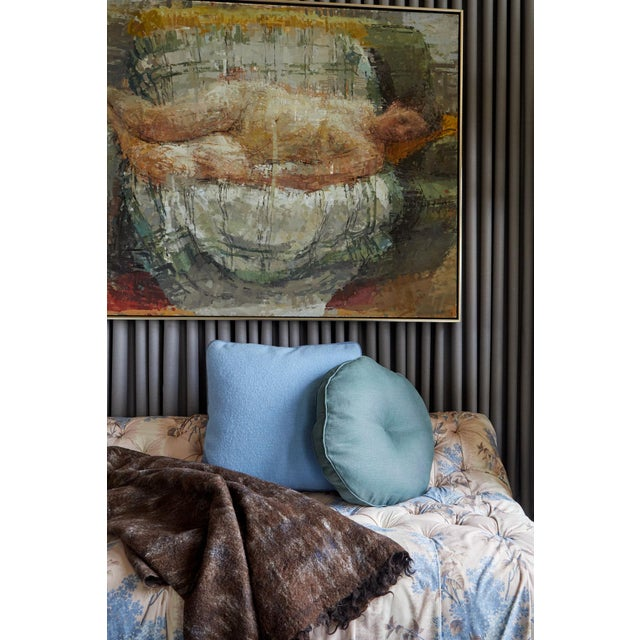 Textile Featured in The 2020 San Francisco Decorator Showcase — Bespoke Martin Young Design Multicolor and White Ivory Tufted & Draped Jasper Fabric Chaise For Sale - Image 7 of 9