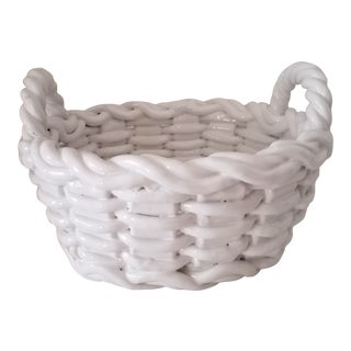 1980s Italian Open Weave Lattice Porcelain Fruit Basket Marked For Sale