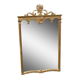 Vintage French Provincial Style Arched Gold Gilt Floral Motif Wood Wall Mirror For Sale