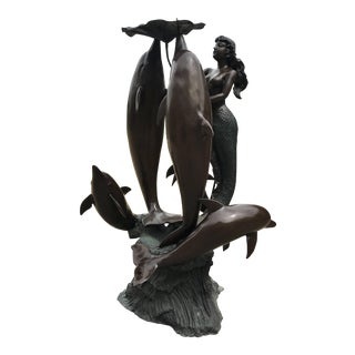 Outdoor/Indoor Lifesize Bronze Fountain With Mermaid and Dolphins For Sale