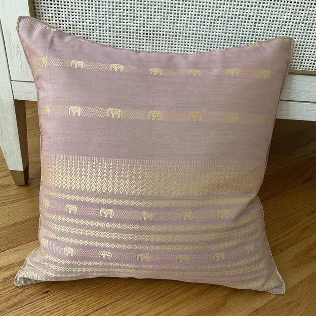 Contemporary Pink Thai Silk Pillow With Elephant Motifs For Sale - Image 4 of 11