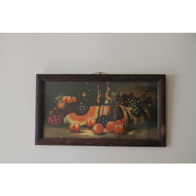 Green Antique 19th C. Watermelon, Fruit & Wine Painting For Sale - Image 8 of 11