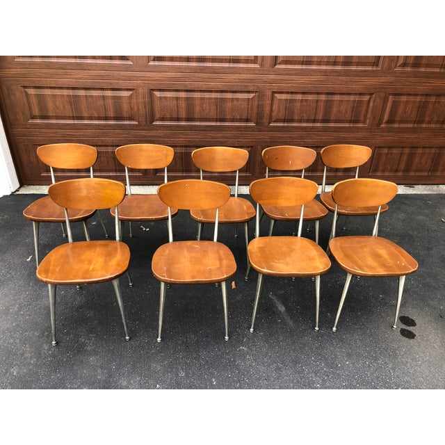 Brown 1950s Vintage Shelby Williams Gazelle Chairs - Set of 9 For Sale - Image 8 of 12