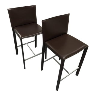 Italian Leather Modern Counter Stools - A Pair For Sale