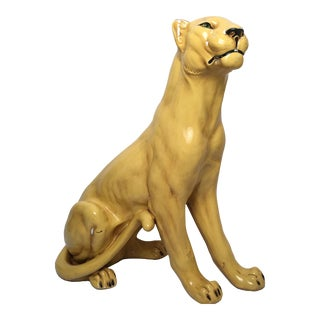 Large Vintage Plaster Lioness Statue Hollywood Regency