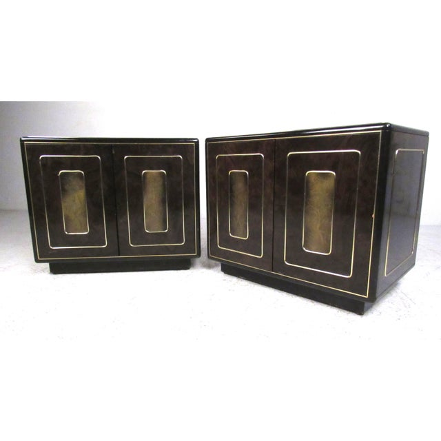 Pair of Mid-Century Brass and Burl Nightstands by Bernhard Rohne For Sale - Image 13 of 13