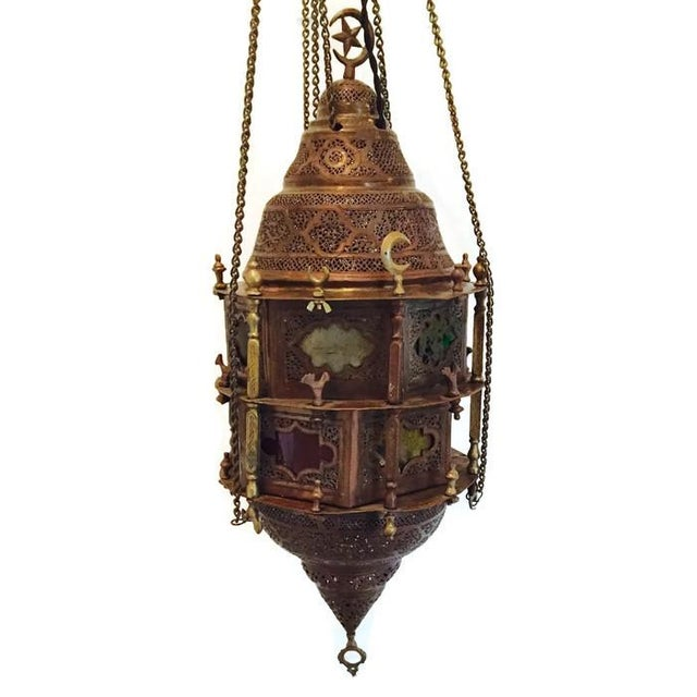 Antique Turkish Pierced Brass Pendant Lamp - Image 2 of 10