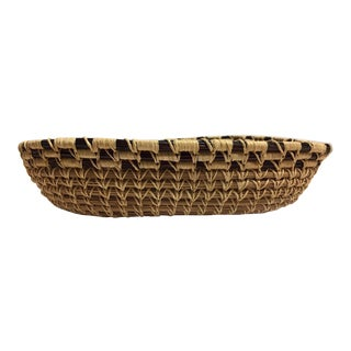 Vintage Traditional Small Woven Basket For Sale