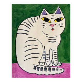 Contemporary Painting, Striped Cat For Sale