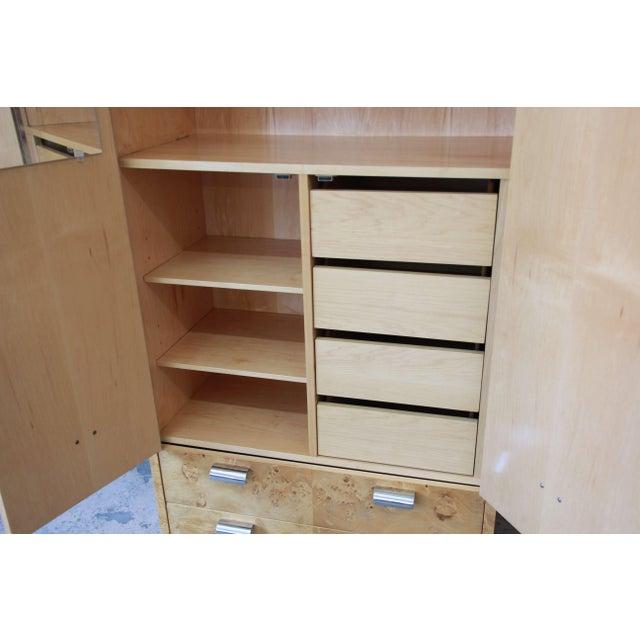 Leon Rosen for Pace Burled Olive Wood and Chrome Wardrobe Dresser - Image 7 of 13