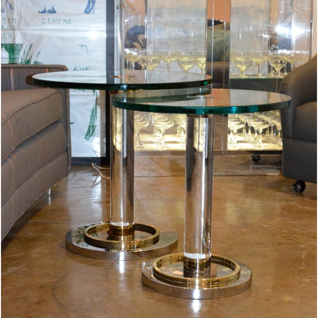 2 Mid Century Modern Lucite, Brass & Chrome Charles Hollis Jones Occasional / Side Tables - Image 2 of 9