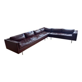 Herman Miller Bolster Sofa Dwr Leather MCL Mulberry Mint For Sale