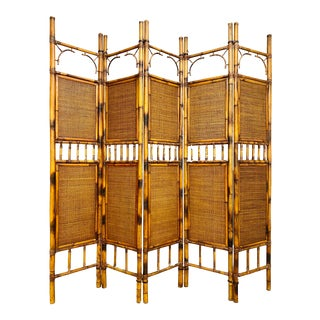 Vintage Mid Century Modern Bamboo Rattan Room Divider For Sale