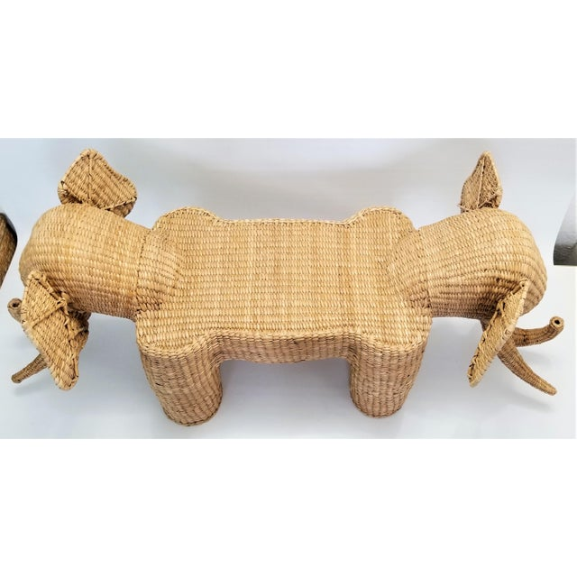 Boho Chic Mario Lopez Torres Elephant Bench - Signed 1974 -- Palm Beach Boho Chic Mid Century Modern Wicker Seagrass Animal For Sale - Image 3 of 13