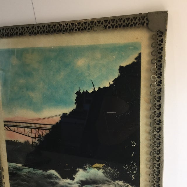Mid Century Vintage Ocean Waters and Bridge Framed Photo For Sale - Image 4 of 6