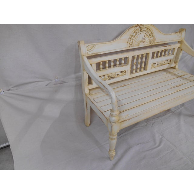 Shabby Chic Late 20th Century Painted and Distressed French Country Garden Bench For Sale - Image 3 of 13