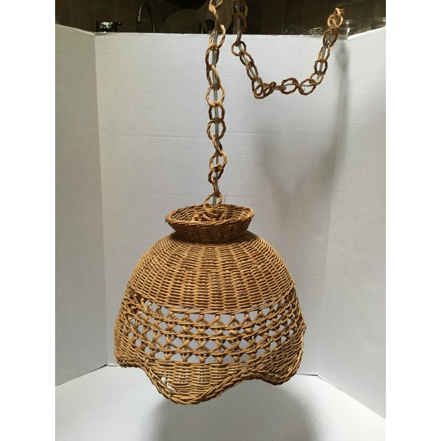 Vintage Wicker Pendant Lights - a Pair For Sale - Image 4 of 7