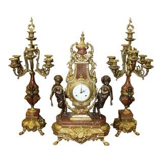 Brevettato Brass & Marble Clock & Matching Candelabra - 3 Piece Set For Sale