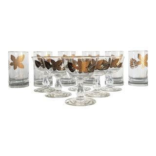 Vintage Libby Maple Leaf Tumblers & Champagne Glasses - Set of 12