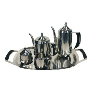 1970s Oneida Stainless Steel Coffee and Tea Service - Set of 5 For Sale