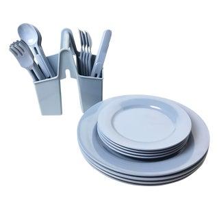 Vintage Elan Blue Dishes, Utensils & Caddy - Set of 25 For Sale