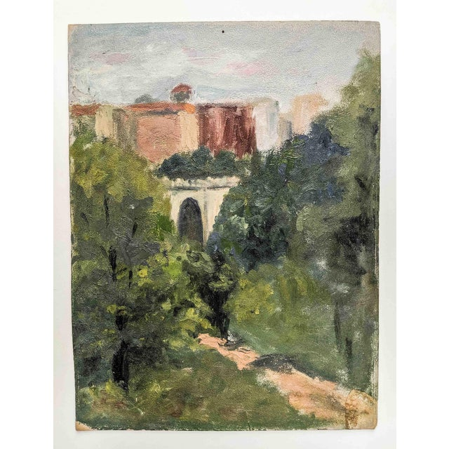 Antique Oil of Picturesque Landscape With Old World Structure on Board For Sale In New York - Image 6 of 6