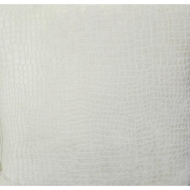 "Boho Chic Bone White Crocodile Velvet Feather/Down Pillows 24"" Square - Pair For Sale - Image 10 of 12"