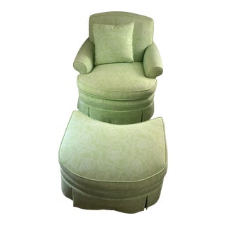 Edward Ferrell Ltd Tight Back Lounge Chair and Ottoman in Custom Celerie Kemble Fabric For Sale