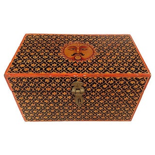 Transitional Indian Hand Painted Box For Sale