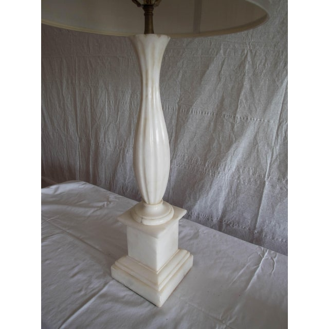 """Stone Antique Alabaster Lamps (Pr.) Tall Elegant Fine-Lineation 33"""" Gray Shades (new) Excellent For Sale - Image 7 of 8"""