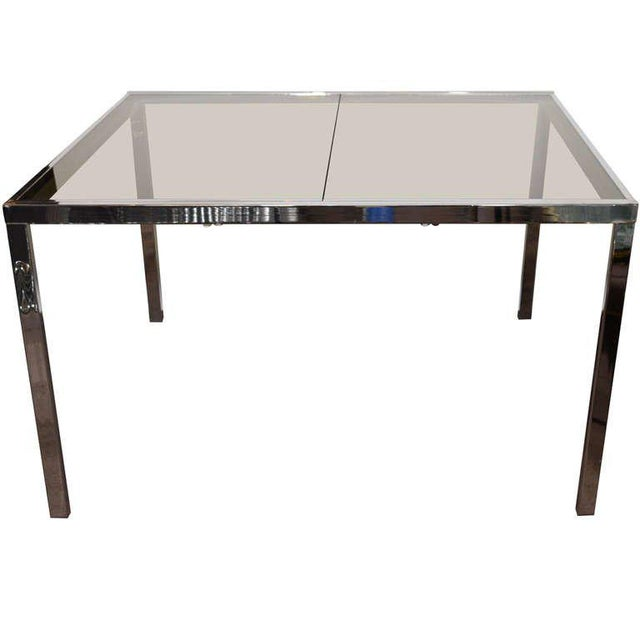 Mid-Century Chrome and Grey Glass Extension Dining Table by DIA For Sale - Image 10 of 10