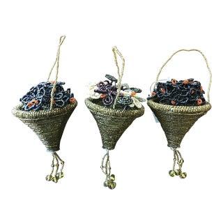 Beaded Flower Basket Christmas Tree Ornaments - Set of 3 For Sale