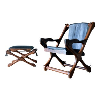 Don Shoemaker 'Swinger' Sling Chair and Ottoman, Ca. 1965 For Sale