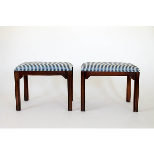 Blue Drexel Heritage Console or Sofa Table W/ Benches - 3 Pc. Set For Sale - Image 8 of 11