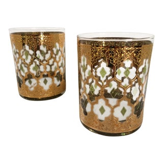 Mid-Century Modern Never Used 22k Culver Ltd. Valencia Lo-Ball Glasses - Set of 2 For Sale
