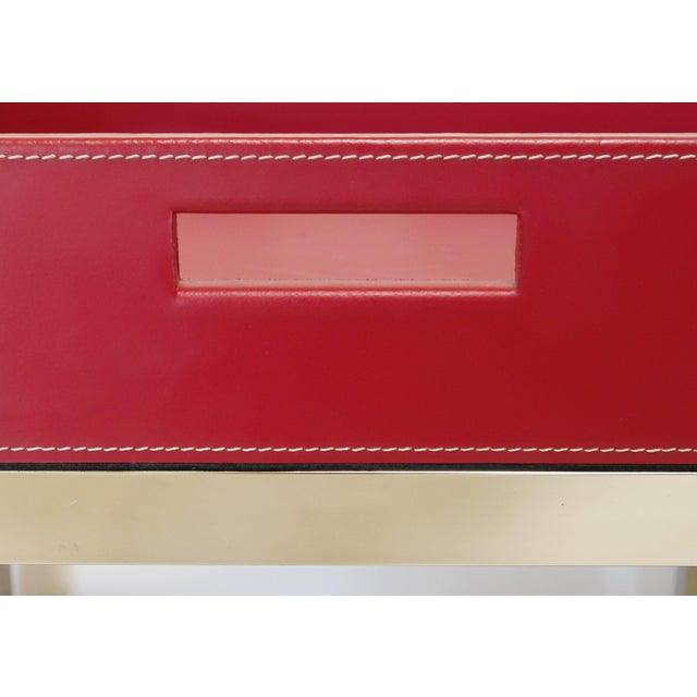 Fabio Ltd Red Leather and Stainless Steel Tray Table by Fabio Ltd For Sale - Image 4 of 7