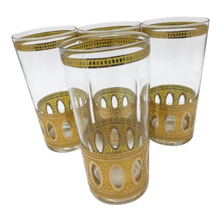 Set of 4 Culver 22k Gold Antigua Highball Glasses For Sale