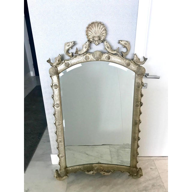 Hollywood Regency Exquisite Hollywood Regency Scalloped Mirror in Antique Sterling Silver Leaf For Sale - Image 3 of 13