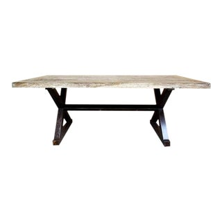 Reclaimed Rustic White Wash Teak Dining Table With Solid Industrial Metal X-Stretcher Legs For Sale
