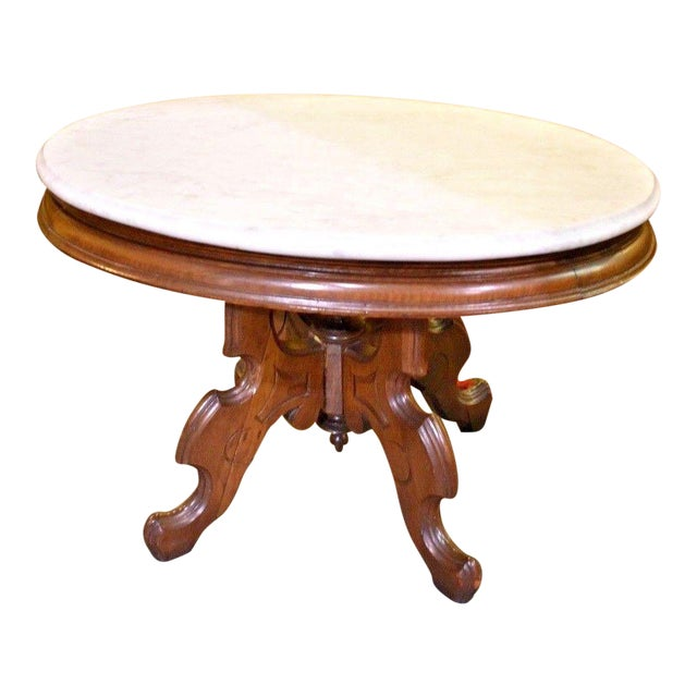 Oval Marble Top Eastlake Style Coffee Table For Sale