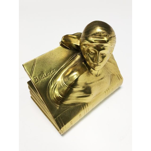 Metal 1940s Jennings Bros Dante and Beatrice Golden Bronze Bookends - a Pair For Sale - Image 7 of 10