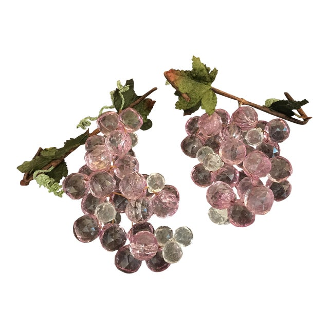 Pink & White Faceted Lucite Grapes - A Pair For Sale
