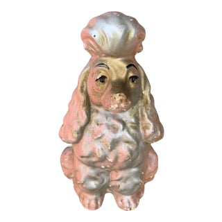 Mid-Century Pink Chalkware Poodle Coin Bank For Sale