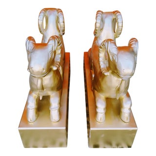 Vintage Double Headed Gold Ram Coffee Table Bases- a Pair For Sale